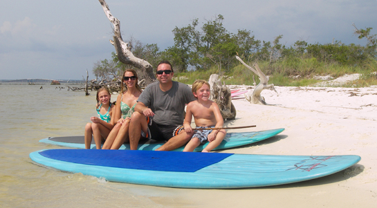 Our Family with Paddleboards on Deadman's Island