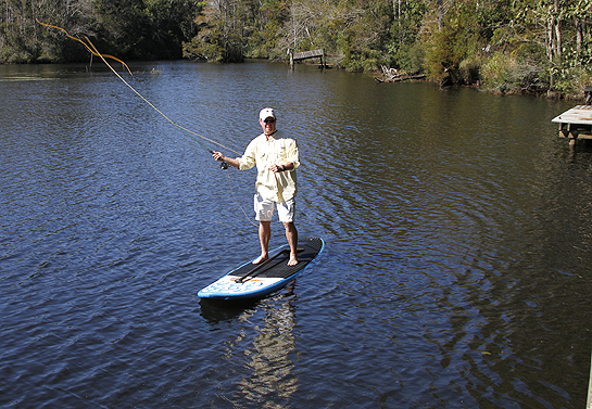 Paddleboard fly fishing on perdido river outdoor gulf for Fly fishing paddle board