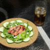 salmon salad and sweet tea