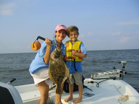 Jacob and his mom with a nice 15.5 lbs flounder.