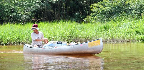 Photo of guy in canoe on Blackwater