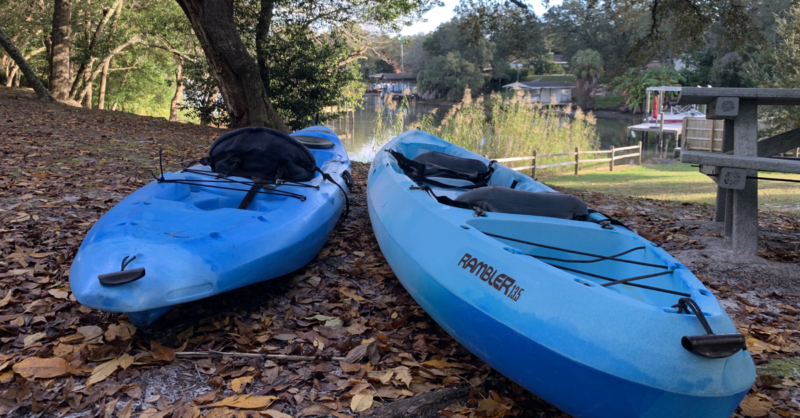 Kayaks at Woodland Park Gulf Breeze