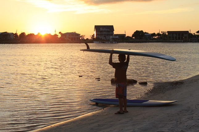 Sunset with paddleboard