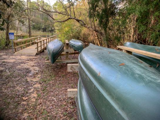Canoes at Thompson Bayou