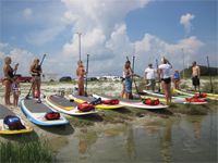 Group of people getting paddleboard lessons