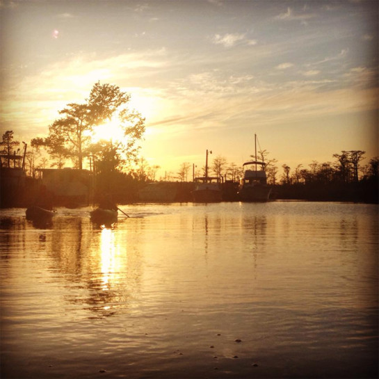 kayak-boats-sunset