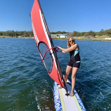 Lindy on a WindSUP sail